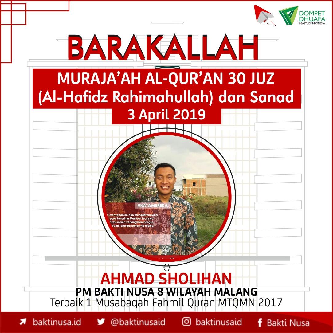 Penerima Manfaat BAKTI NUSA Berhasil Hafal Al-Quran 30 Juz dan Sanad